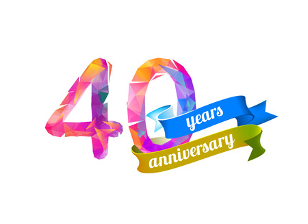 40 (forty) years anniversary. Vector triangular digits Illustration