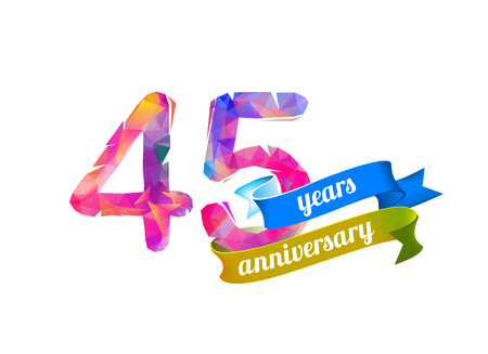 45 (forty five) years anniversary. Vector triangular digits