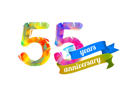 birthday party: 55 (fifty five) years anniversary. Vector triangular digits