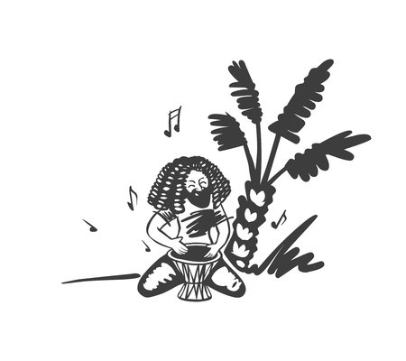Rasta man with dreadlocks under palm plays on the drum. Vector illustration