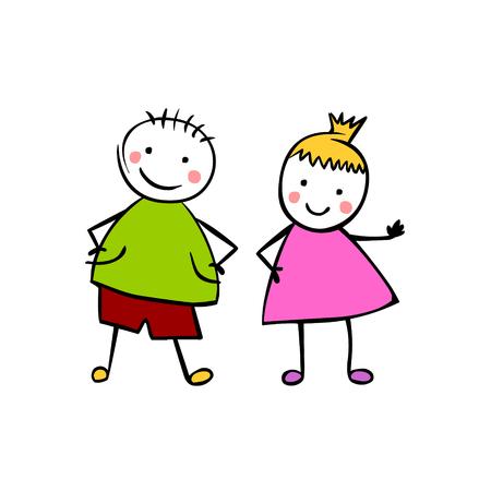 Jongen en meisje (of man en vrouw). Kleine mensen in de kinderstijl. Vector paar Stockfoto - 80956074