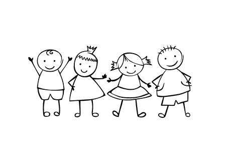 coworker: Friends. Boys and girls. Little people in the childrens linear style
