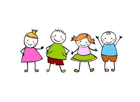 Amigos. Meninos e meninas. Pessoas pequenas coloridas no estilo infantil Ilustración de vector