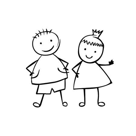 Linearer Junge und Mädchen (oder Mann und Frau). Kleine Leute im Kinderstil. Vektorgrafik