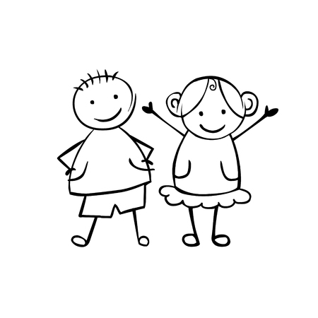 Vector illustration of boy and girl. Illustration