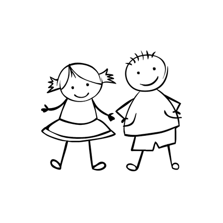 and two friends: Linear boy and girl (or man and woman). Little people in the childrens style. Vector couple