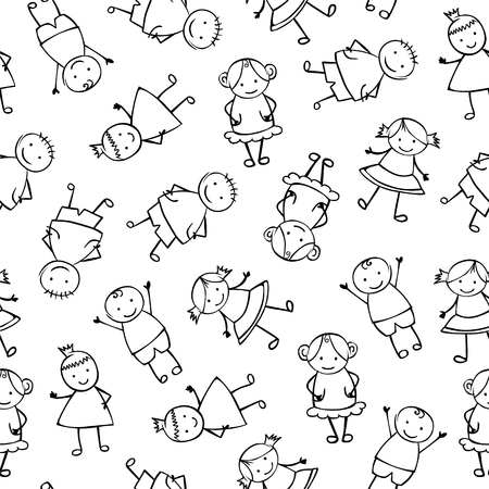 coworker: Seamless vector pattern of children.