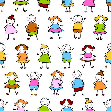 Seamless vector pattern of children.