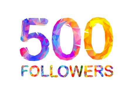 5000 (five hundreds) followers. Vector triangular colorful inscription
