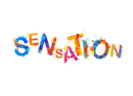 Sensación. Palabra del vector de la pintura colorida del chapoteo