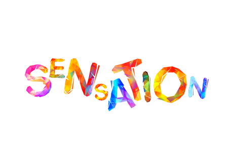 Sensation. Vector word of colorful triangular letters