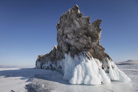 Lake Baikal nature, Ogoi island. Winter landscape