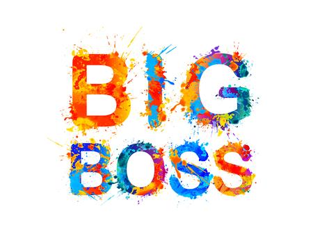 Big boss in splash paint vector watercolor inscription 일러스트