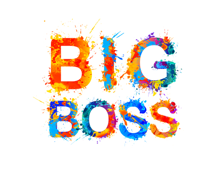 Big boss in splash paint vector watercolor inscription Illustration