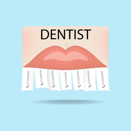Dentist ad (dental clinic). Bite correction, whitening, orthodontics, sealing, prosthetics, implantation Illusztráció