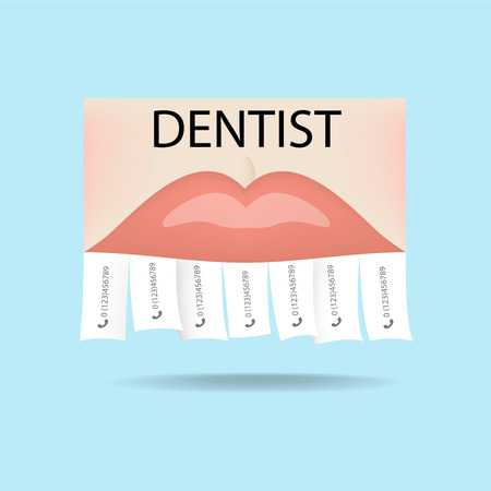 Dentist ad (dental clinic). Bite correction, whitening, orthodontics, sealing, prosthetics, implantation Illustration