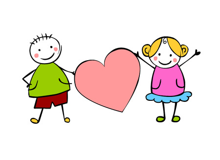 Boy and girl (or man and woman) with heart. Little people in the childrens style. Vector couple