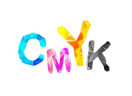 CMYK abbreviation. Vector triangular inscription on white background
