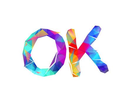 OK. Word of colorful vector triangular lettters Ilustração
