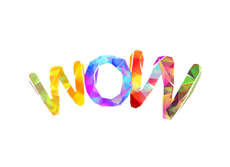 Word WOW. Sign of triangular colorful letters