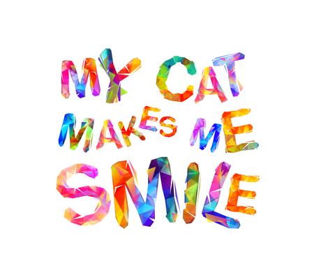 My cat makes me smile - Vector inscription of triangular letters