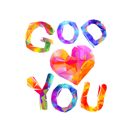 Colorful god loves you inscription isolated.