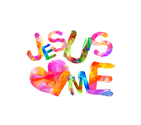 Colorful jesus loves me inscription isolated.