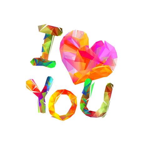 Kleurrijke ik hou van je inschrijving geïsoleerd.