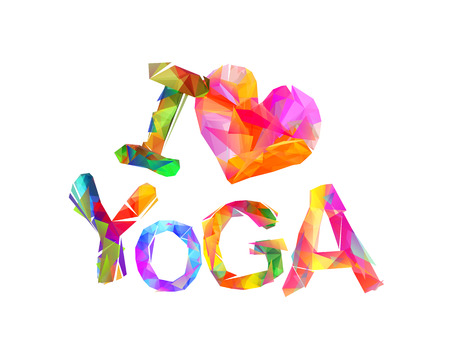 salubrity: I love yoga. Vector inscription of triangular letters Illustration