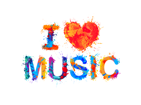 I love music Vector inscription of splash paint Vectores