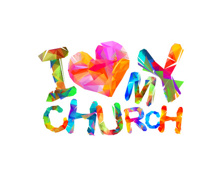 I love my church Vector inscription