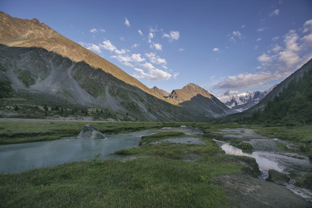 The valley of the lake Ak-kem, Beluha mountain. Altai landscape, Russia