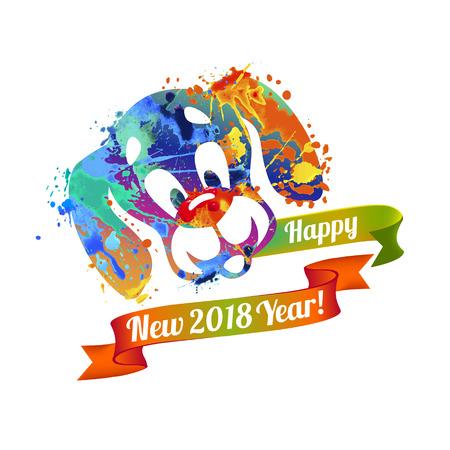 Happy NEW 2018 Year vector congratulation card. Dog of splash paint