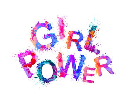 Meisje kracht. Vector opschrift van splash paint letters