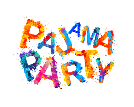 Pajama party inscription of splash paint letters
