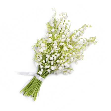 Bouquet of lilies of the valley isolated on white background Zdjęcie Seryjne