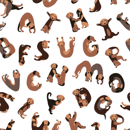 Dachshund dog forming letters.