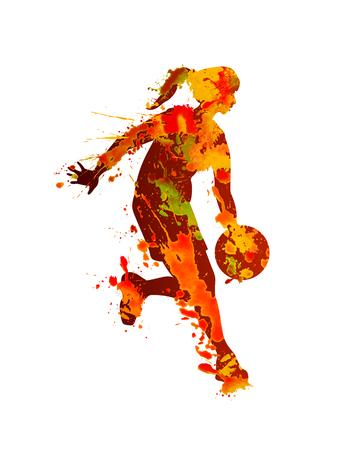 Jogador de basquete de mulher. Respingo de tinta aquarela sobre um fundo branco