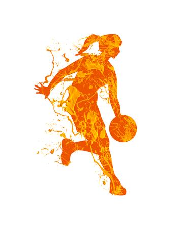 Giocatore di pallacanestro della donna. Vernice spruzzata su uno sfondo bianco