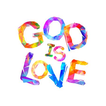 Dios es amor. Inscripción de vector de letras triangulares Foto de archivo - 87290360