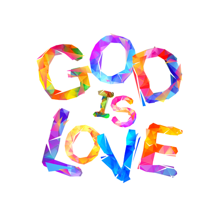 God is love. Vector inscription of triangular letters Illustration