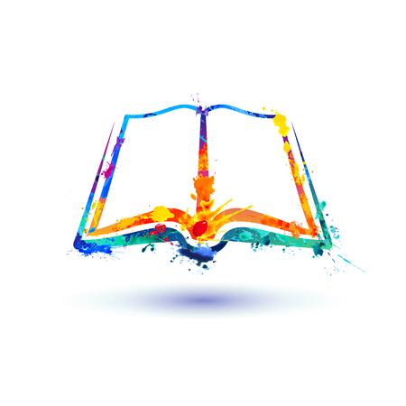 Open book icon. Vector watercolor colorful splash paint