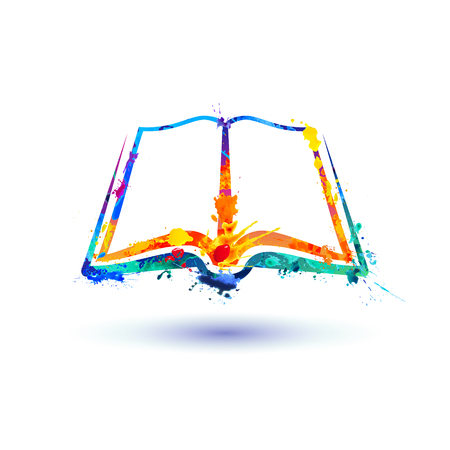 Open book icon. Vector watercolor colorful splash paint