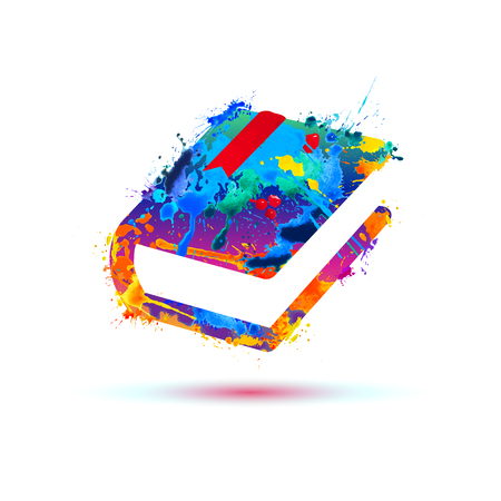 Book icon. Vector watercolor colorful splash paint