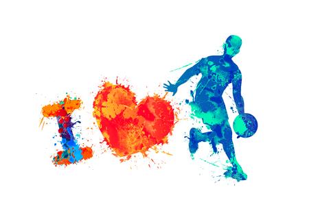 Ik hou van basketbal. Aquarel splash verf. Vector