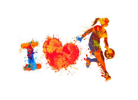 バスケット ボールが大好きです。水彩スプラッシュ ペイント。ベクトル
