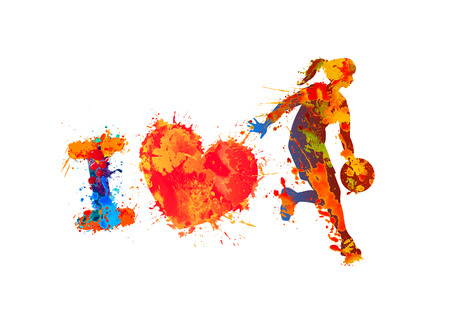 I love basketball. Watercolor splash paint. Vector Illustration