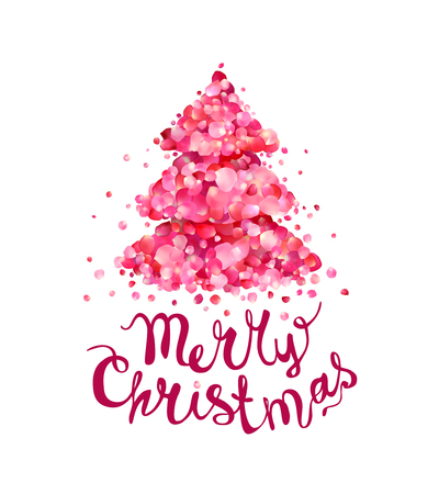 Holiday congratulation card. Christmas tree of pink rose petals. hand written inscription Çizim