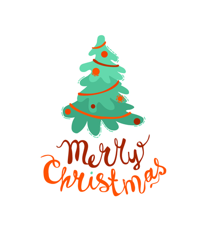 Merry Christmas congratulation card with Christmas tree and hand written inscription