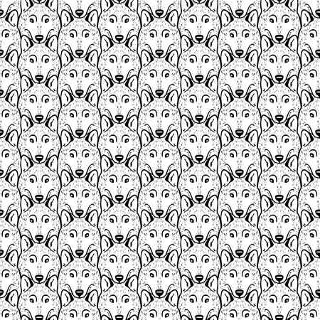 Seamless flat pattern - a flock of wolves. Ilustrace